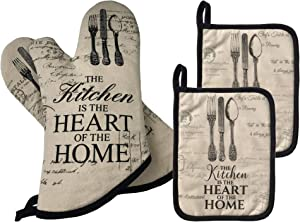 GREVY Quilted Cotton Pot Holders with Thumb Position Pocket Heat Resistant Oven Mitts for Cooking or Baking,7x9,Set of 4 (4 PCS Kitchen Sets)