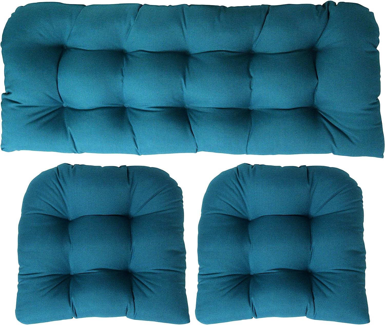 Amazon Com 3 Piece Wicker Cushion Set Indoor Outdoor Wicker Loveseat Settee 2 Matching Chair Cushions Sunbrella Spectrum Peacock Teal Blue 1132 Kitchen Dining