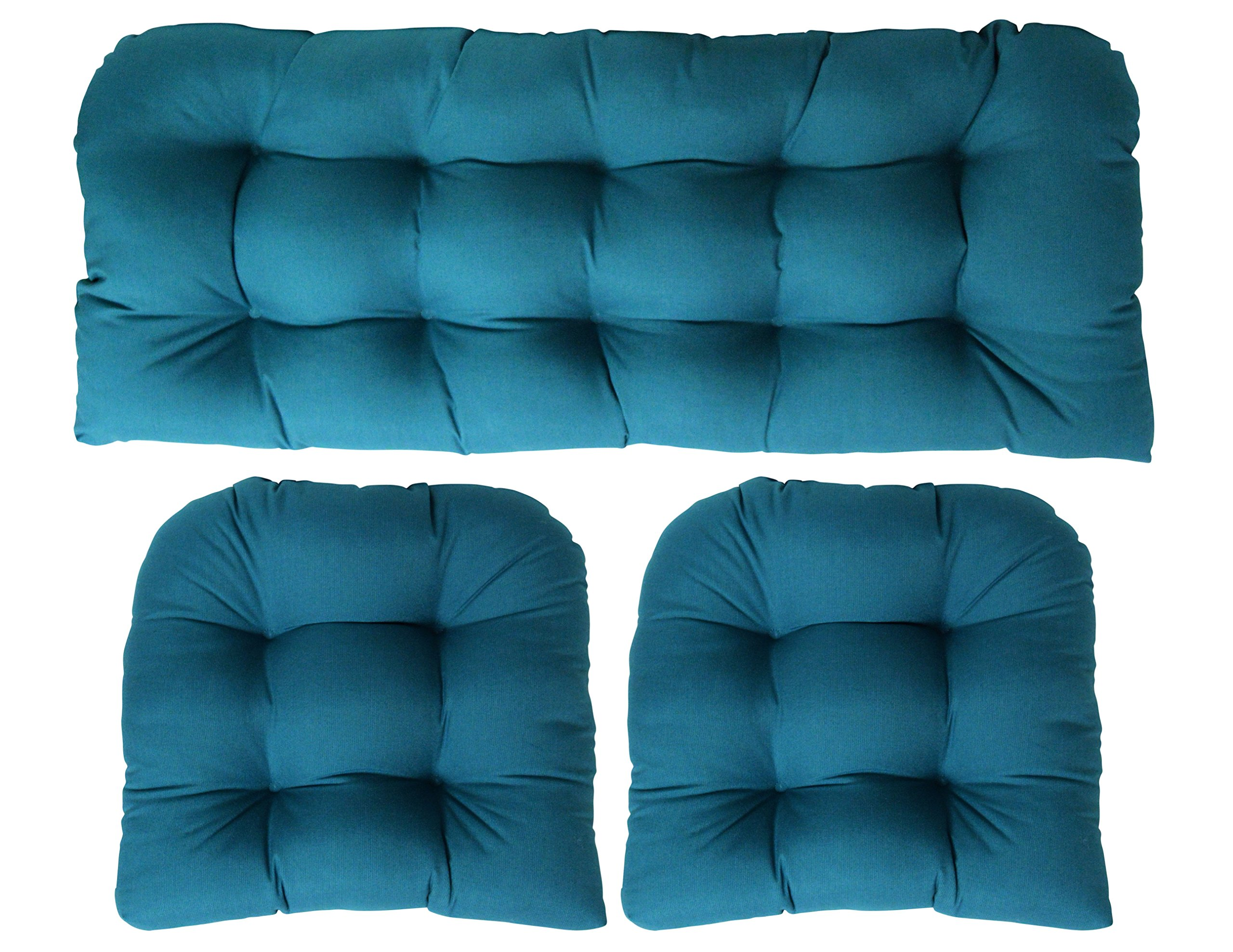 3 Piece Wicker Cushion Set - Indoor / Outdoor Wicker Loveseat Settee & 2 Matching Chair Cushions - Sunbrella Spectrum Peacock Teal Blue (1132)