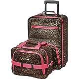 Rockland Fashion Softside Upright Luggage Set, Pink Leopard, 2-Piece (14/19)