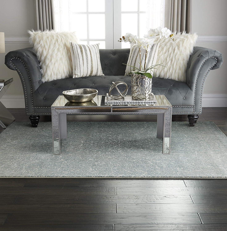 """Inspire Me Home Décor Elegance Blue, Grey and White Contemporary Area Rug 5'3"""" X 7'3"""""""