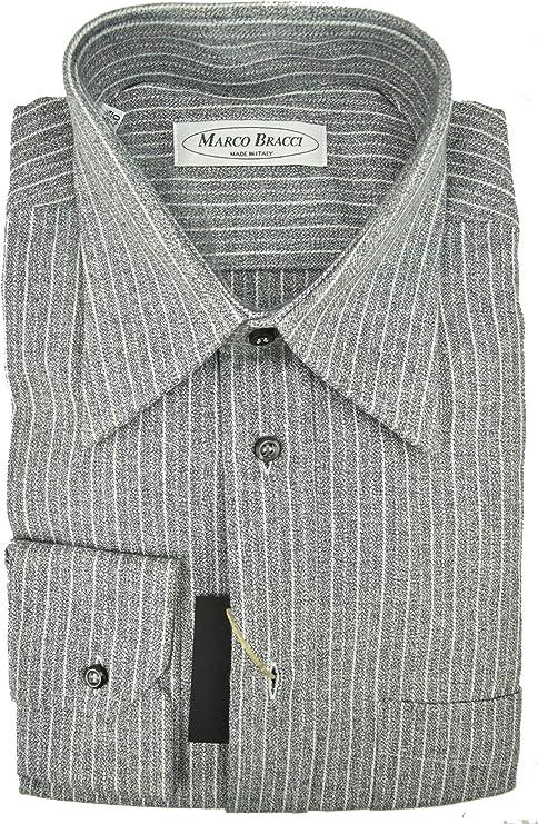 El hombre de la camisa Gris de Rayas de Cuello Italia Crepé de Algodón - 15¾ 40: Amazon.es: Ropa y accesorios