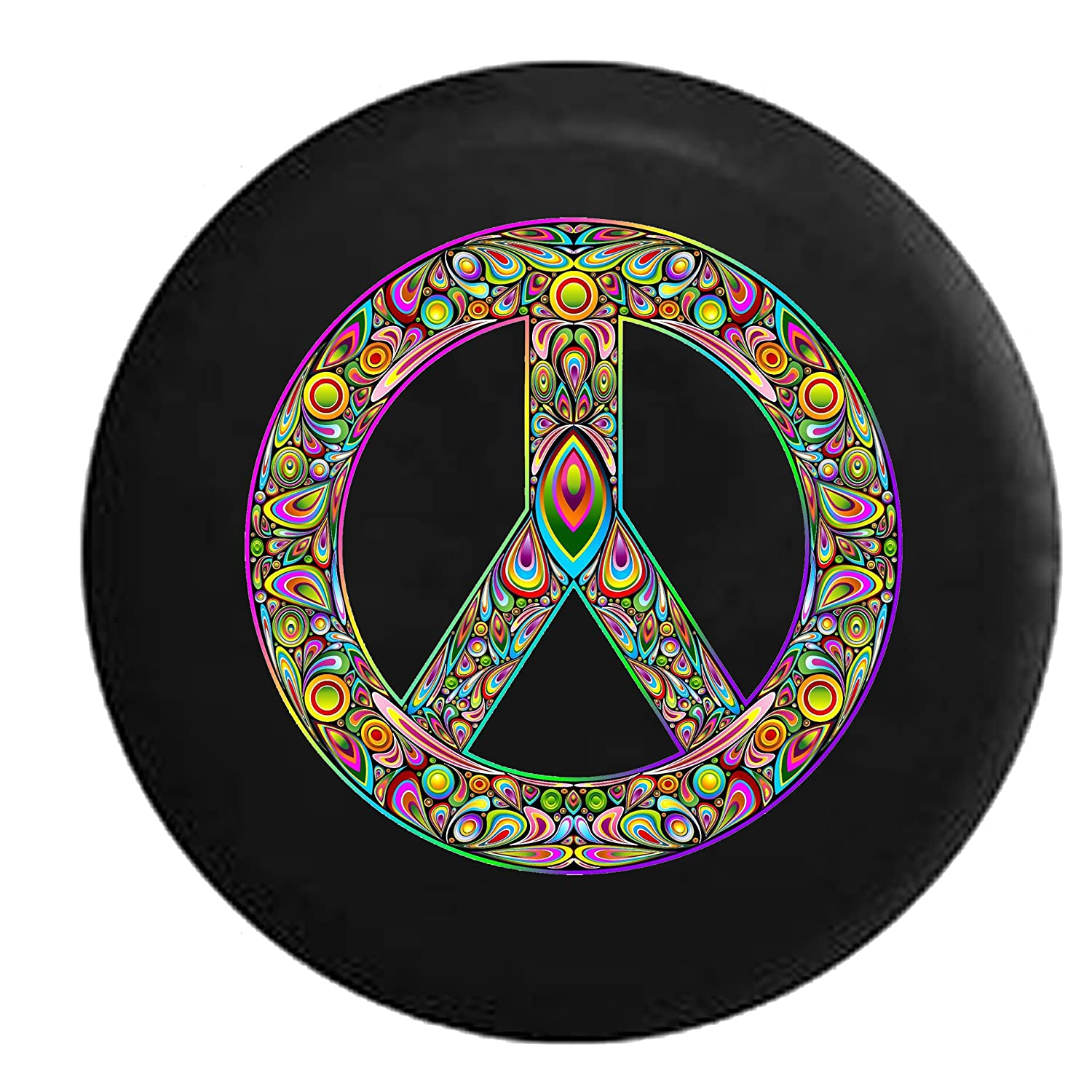 Psycodelic Peace Sign Hippie Lava Lamp Jeep RV Spare Tire Cover Black 33 in Silver Back Covers