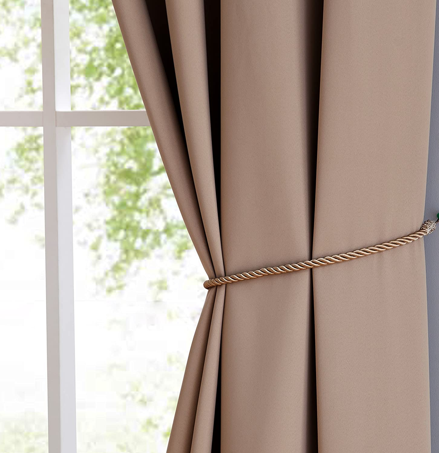 2 Premium Grommet Blackout Window Curtain Panels with Tiebacks 2 Panels 38x96, Charcoal - 96 Inch Long Total Size 76 Inch Wide Nicole LinenZone NICOLE/_38x96/_CHARCOAL 38 Each Panel Solid Thermal Insulated Draperies
