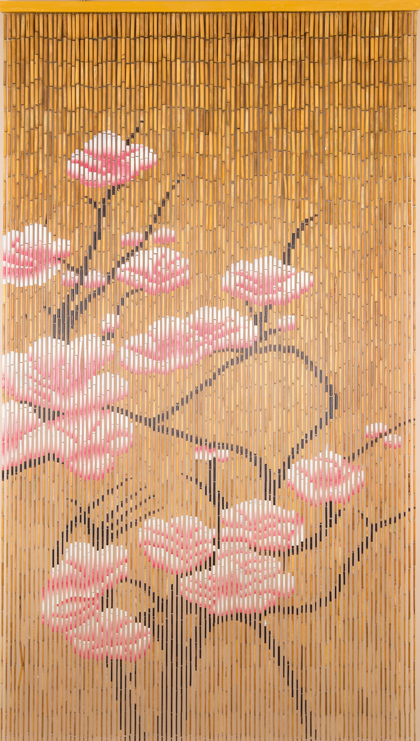 BeadedString Natural Bamboo Wood Beaded Curtain-90 Starnds-80 High-Boho Door Beads-Bohemian Doorway Curtain-35.5'' Wx80 H-Blossom by BeadedString (Image #1)