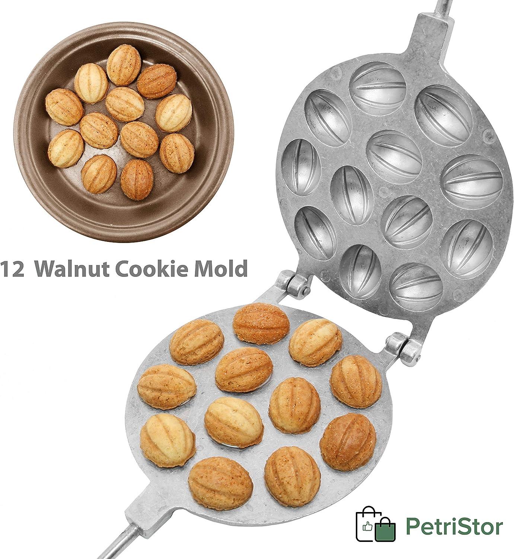 Walnut 12 Cookie Mold (Oreshek) Maker Oreshki Rissian Soviet Cookies Pastry Oreshnitsa Орешница by PetriStor