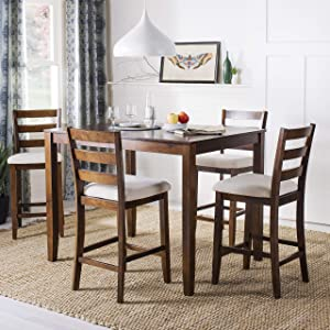 Safavieh Home Collection Melvin 5 Piece Pub Set, Brown and Beige