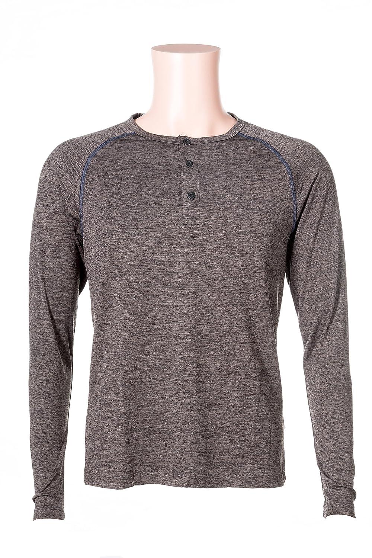 Jump Big Mens Long Sleeve Shrink Resistant Henley Shirts Medium Grey