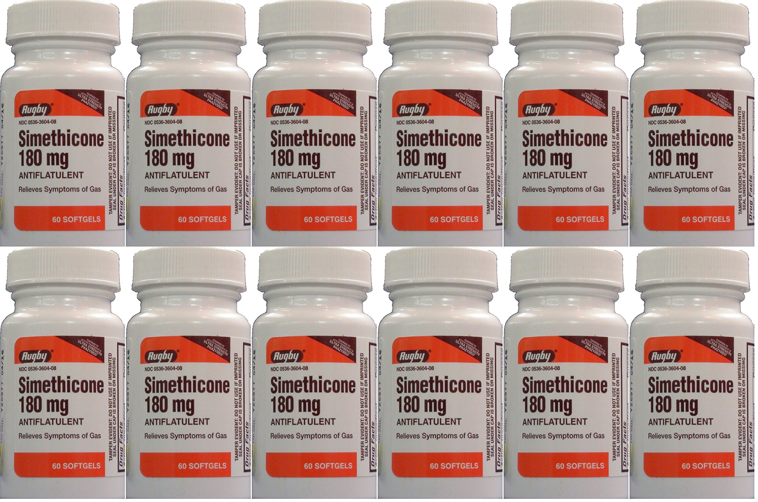 Simethicone 180mg Softgels Anti-Gas Generic for Phazyme Ultra Strength 60 Gelcaps per Bottle Pack of 12 Total 720 Gelcaps by RUGBY LABORATORIES