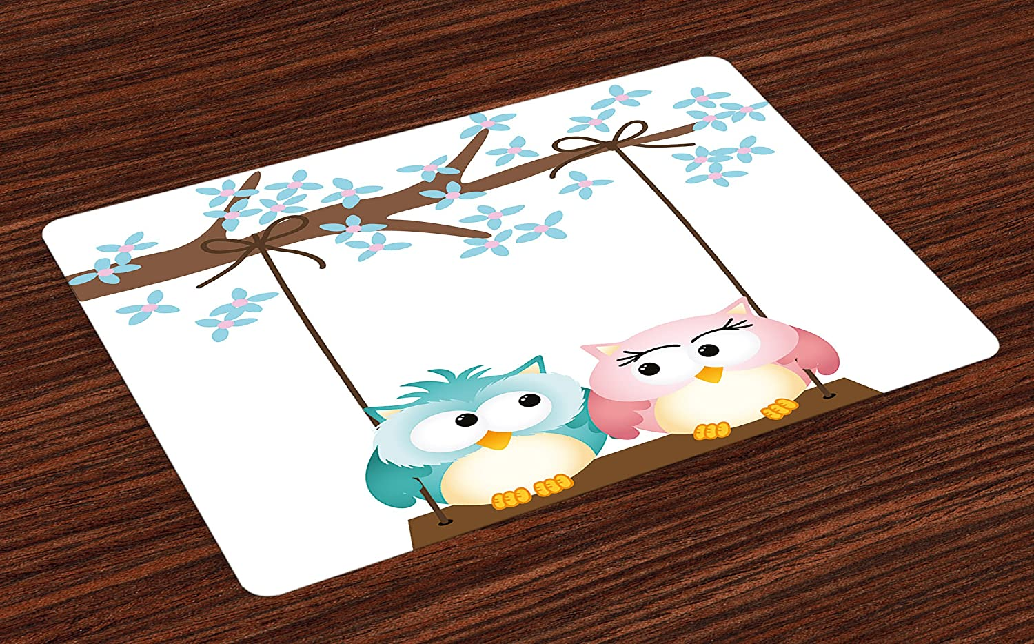 Ambesonne Nursery Place Mats Set of 4, Two Owls in Love on a Swing Blossoming Tree Branch Spring Romance, Washable Fabric Placemats for Dining Room Kitchen Table Decor, Pale Blue Pale Pink Brown
