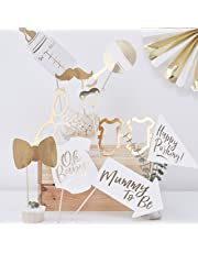 Ginger Ray Gold Foiled Baby Shower Photo Booth Props Alternative Game - Oh Baby!