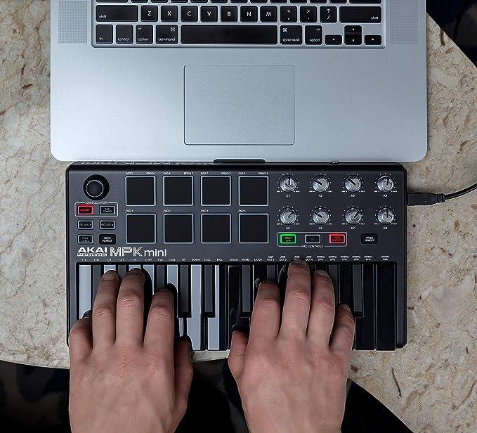 AKAI Professional MPK Mini MKII LE Black | Black, Limited Edition 25-Key  Portable USB MIDI Keyboard With 8 Backlit Performance-Ready Pads,