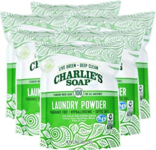 product image for Charlie's Soap Laundry Powder (100 Loads, 6 Pack) Hypoallergenic Deep Cleaning Washing Powder Detergent – Eco-Friendly, Safe, and Effective