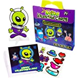 Valentine's Day Cards For Kids | Alien & UFO Kids Valentine 28 Pop-Out Cards with Stickers | Classroom Fun For Boys & Girls