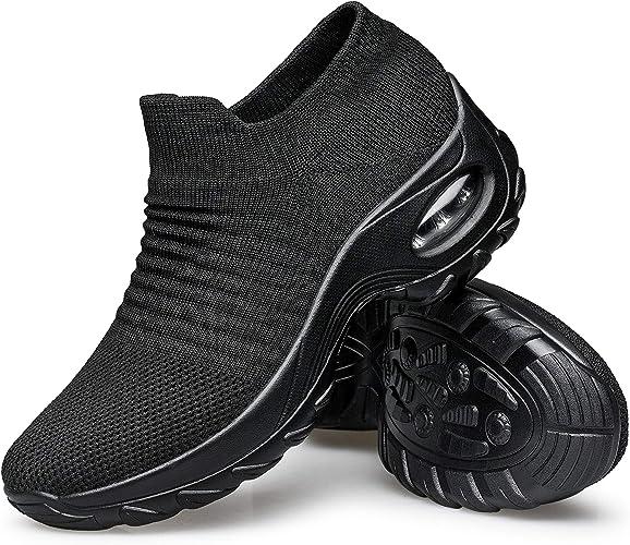 Women Flat Running Sneaker Pumps Walking Mesh Slip-On Outdoor Tennis Socks Shoes