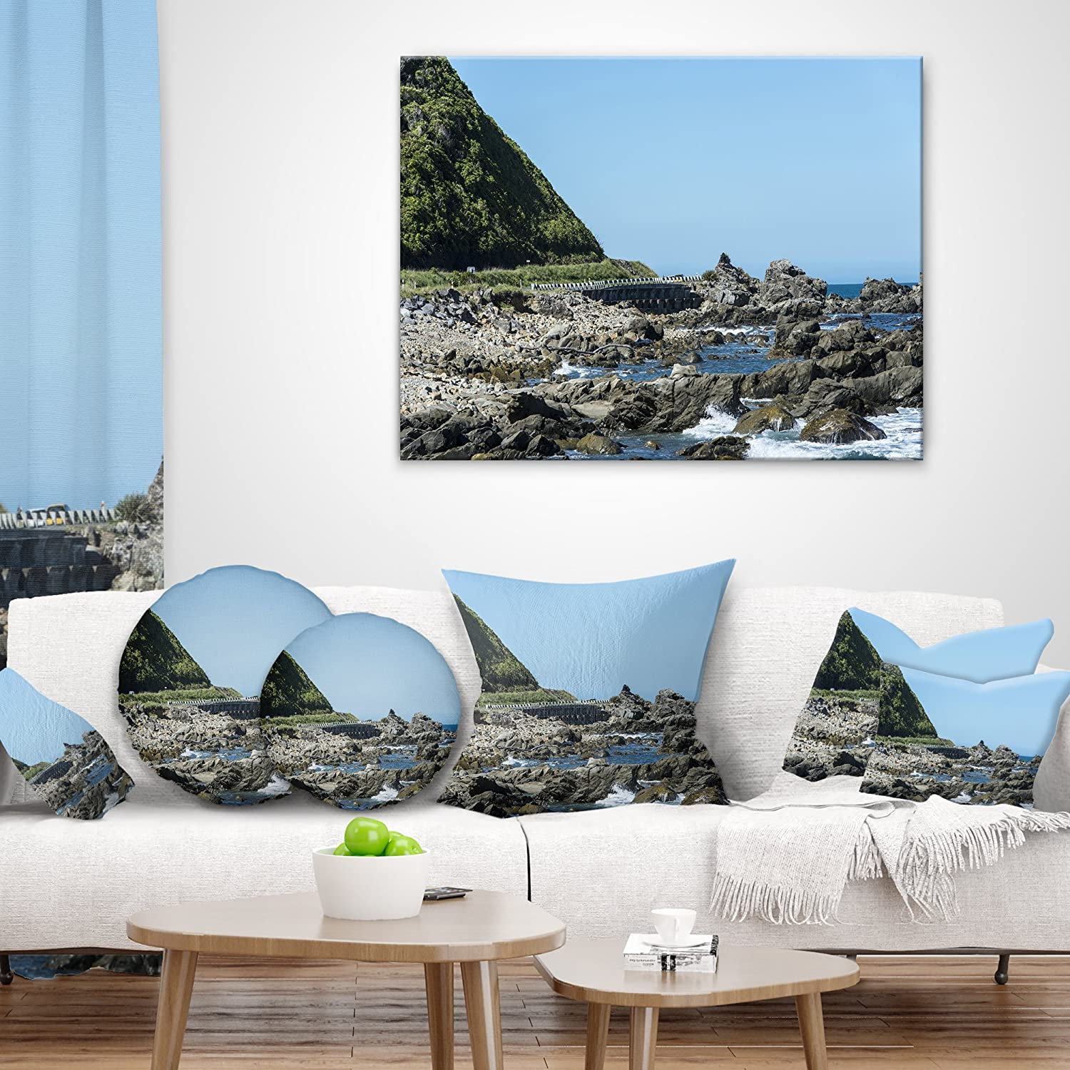 in Designart CU11456-26-26 Beautiful New Zealand Rocky Beach Modern Seascape Cushion Cover for Living Room x 26 in Sofa Throw Pillow 26 in Insert Printed On Both Side