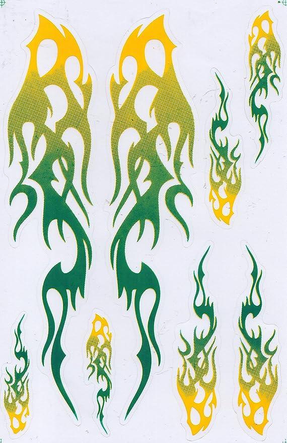DD Flammen gr/ün Sticker Aufkleber Folie 1 Blatt 270 mm x 180 mm wetterfest