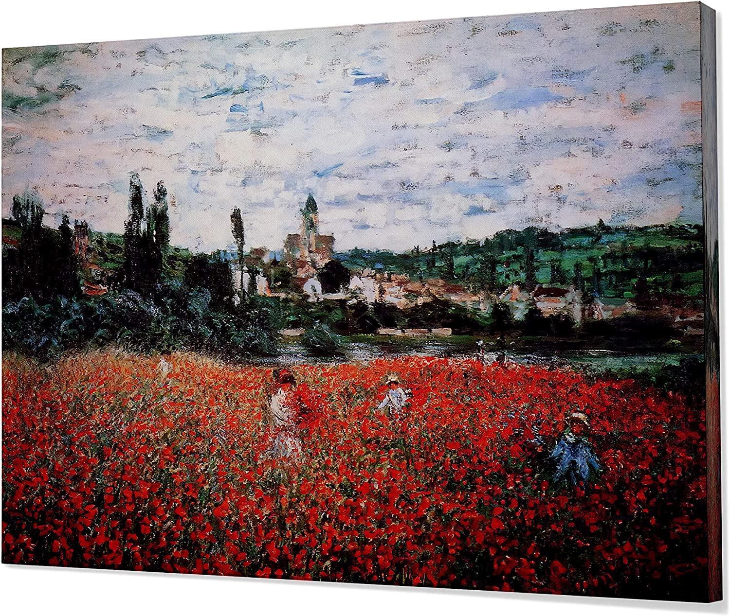 Monet Wall Art Collection Canvas Poppy Field Near Vetheuil 1879 Prints Wrapped Gallery Wall Art Stretched And Framed Ready To Hang 24x32 Home Kitchen
