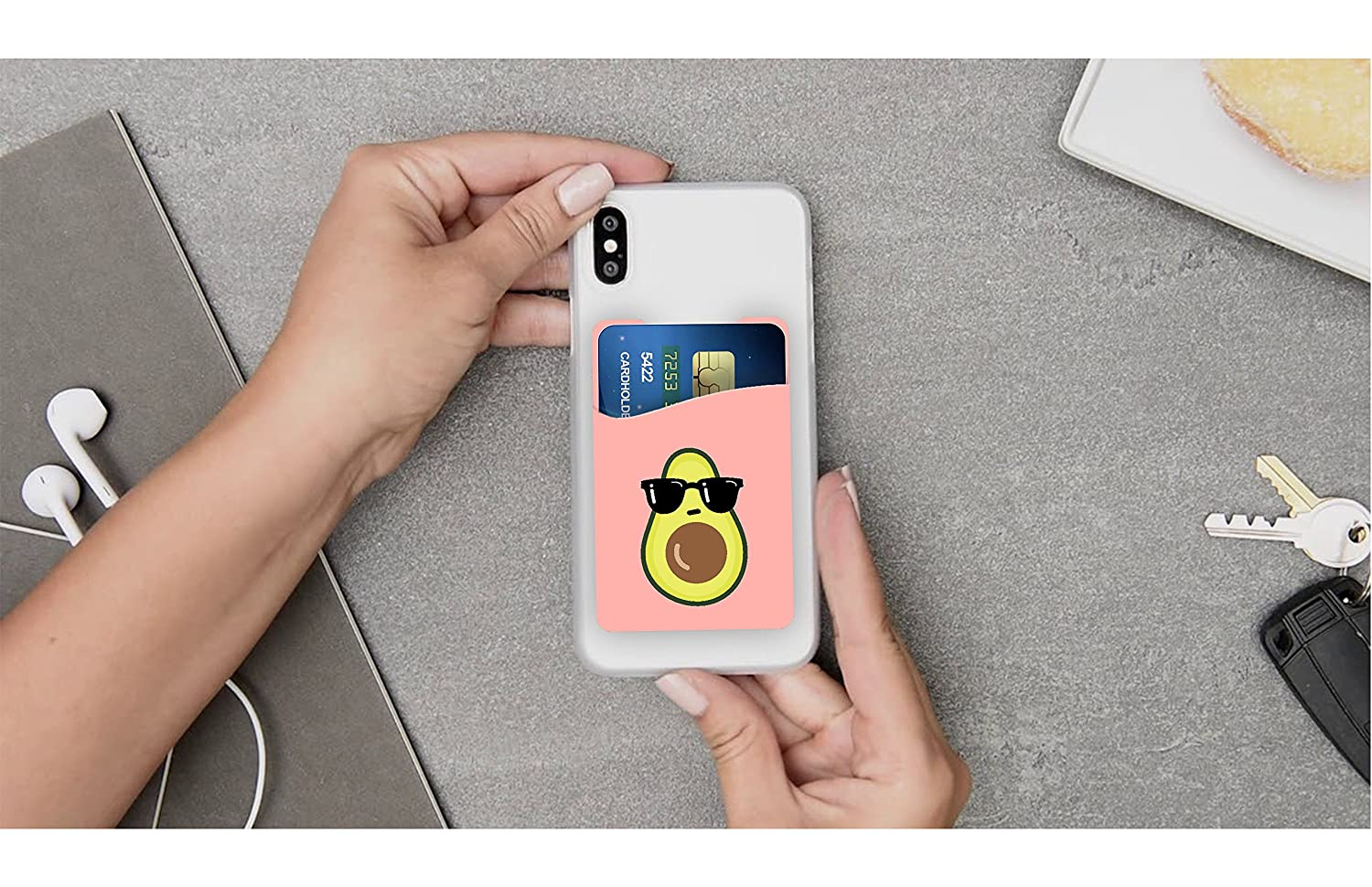 Avocado and Pineapple Cell Phone Stick on Wallet Card Holder Phone Pocket for iPhone Android and All Smartphones. Two