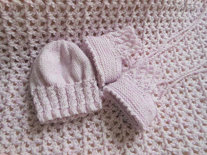 Baby Pink Crochet Blanket Chunky Baby Blanket Baby Knitted Booties