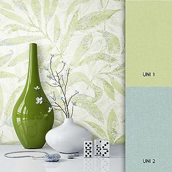 Newroom Blumentapete Tapete Grün Blumen Blätter Floral Vliestapete