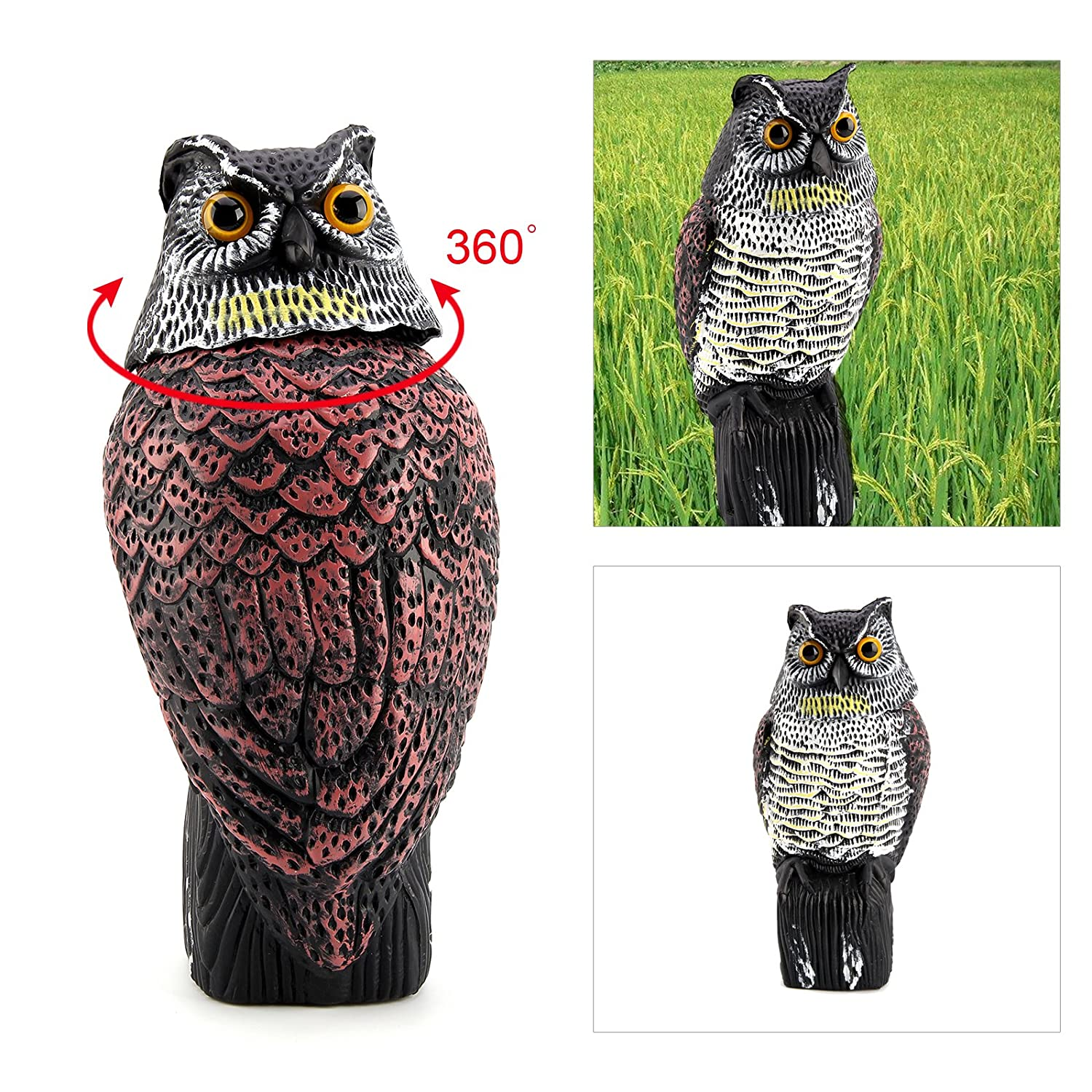 AllRight Realistic Owl Wind Action Fake Owl Decoy Crow Scarer OEM