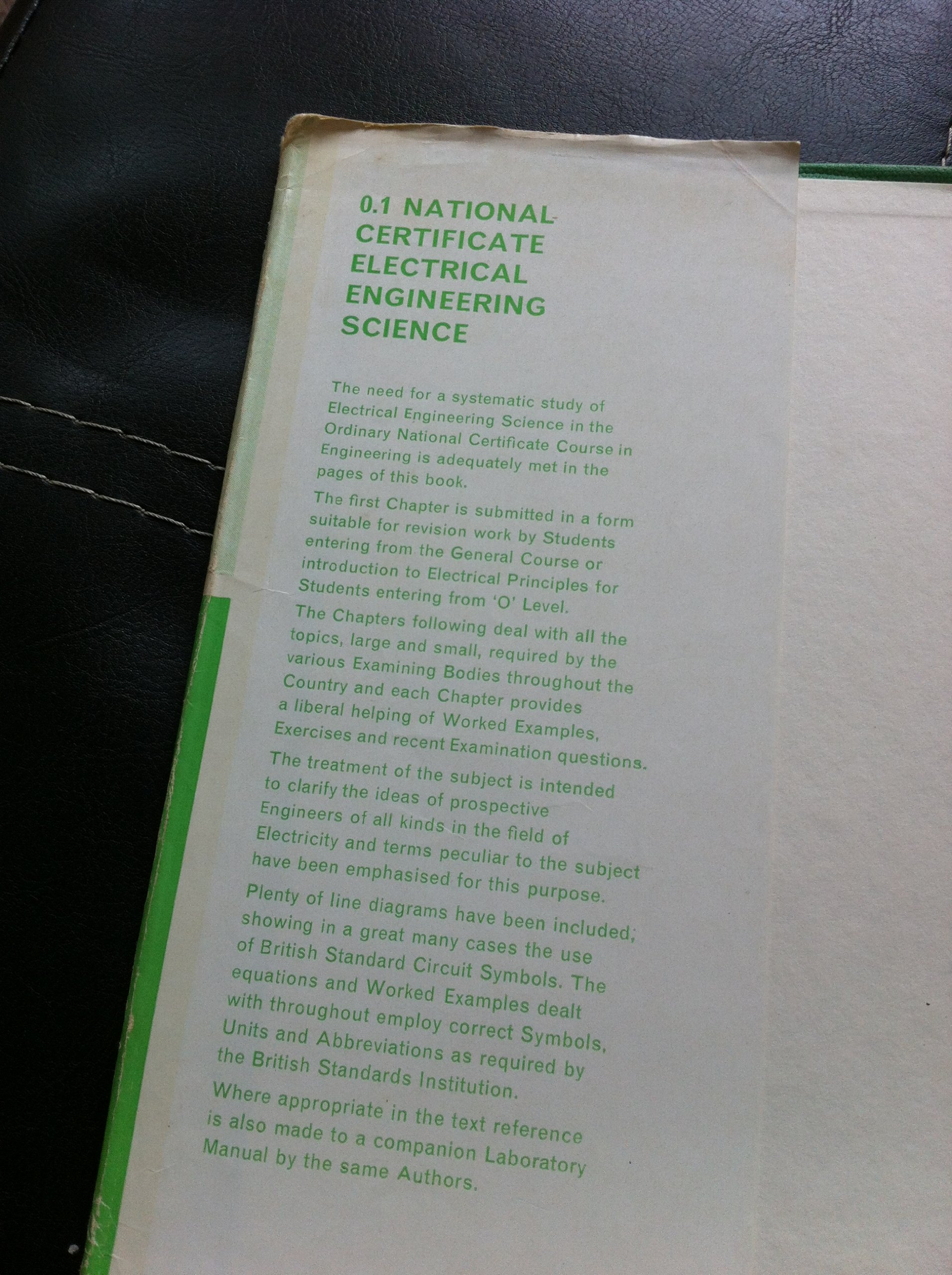National Certificate Electrical Engineering Science Technical