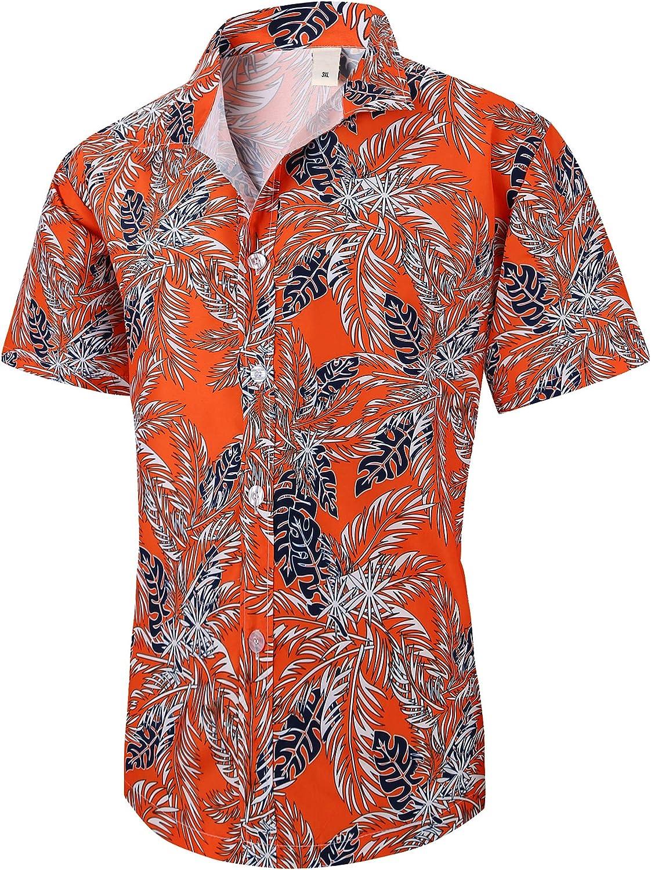 XTAPAN Men Short Sleeve Shirt-Flower Leaf Palm Tree Print Beach Button Down Hawaiian Shirt