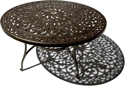 Strathwood St. Thomas Table de jardin ronde en fonte d\'aluminium