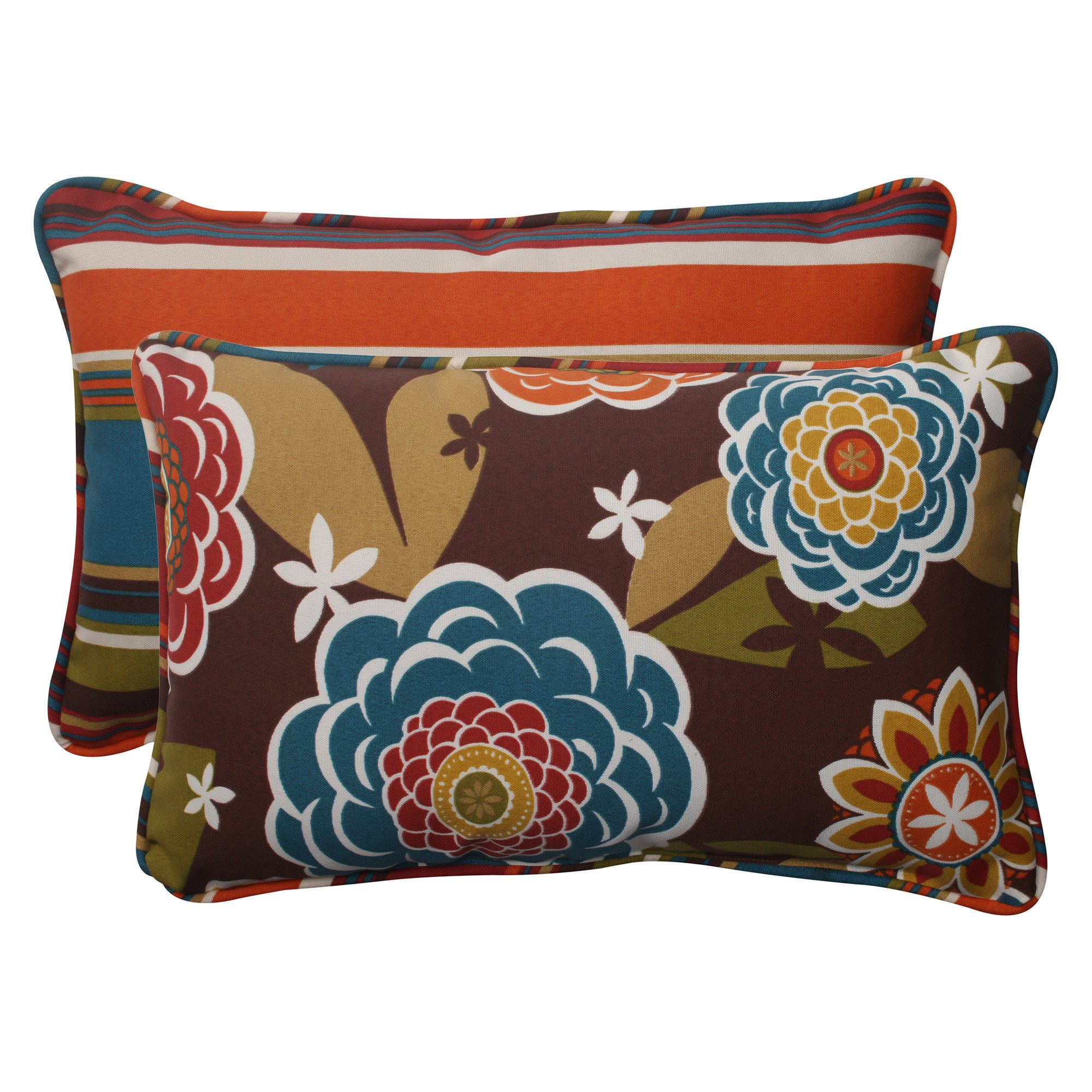 Pillow Perfect Indoor/Outdoor Annie Westport Reversible Corded Rectangular Throw Pillow, Chocolate, Set of 2