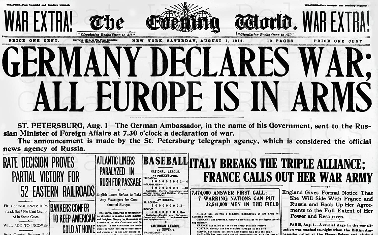 Amazon.com: WW1 Newspaper Poster Replica - GERMANY DECLARES ALL EUROPE IS IN ARMS - Size 8.3x11.7 inches - WWI 1914 Military Memorabilia Wall Decor: Posters & Prints