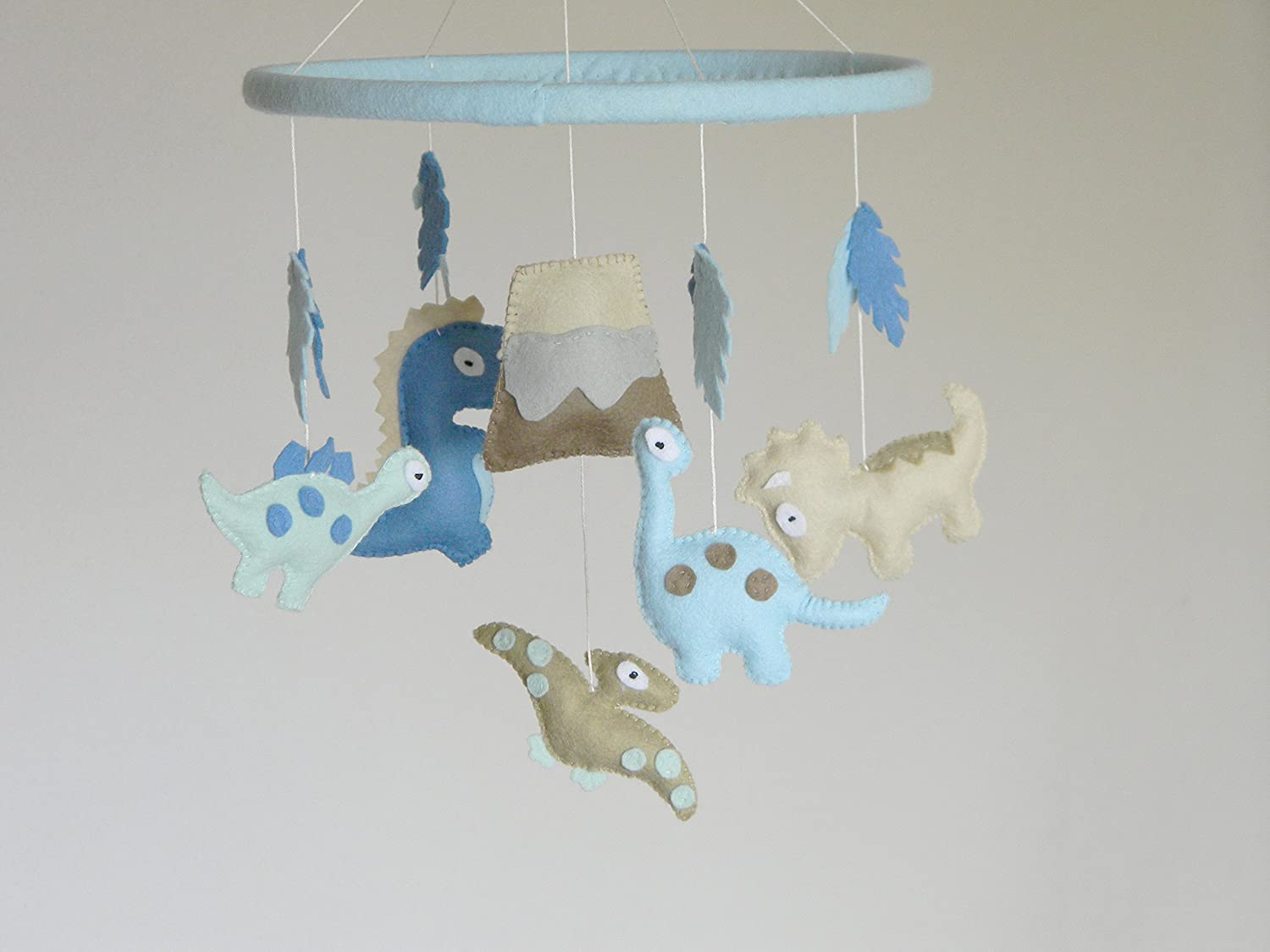 Dinosaur Mobile, Nursery Crib Mobile, Felt dinosaur baby mobile, Baby boy mobile, blue mint brown colors