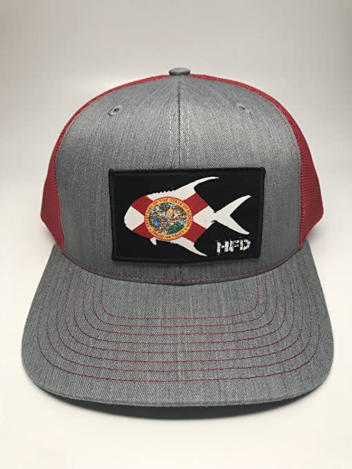 sale retailer 52e02 08f09 Amazon.com   Hunting and Fishing Depot Florida Permit Patch Trucker Hat    HFD   Clothing