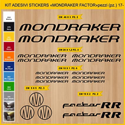Kit Pegatinas Stickers Bicicleta MONDRAKER FACTOR RR -KIT 2-17 piezas- Bike Cycle Cod. 0882 (070 NERO): Amazon.es: Deportes y aire libre