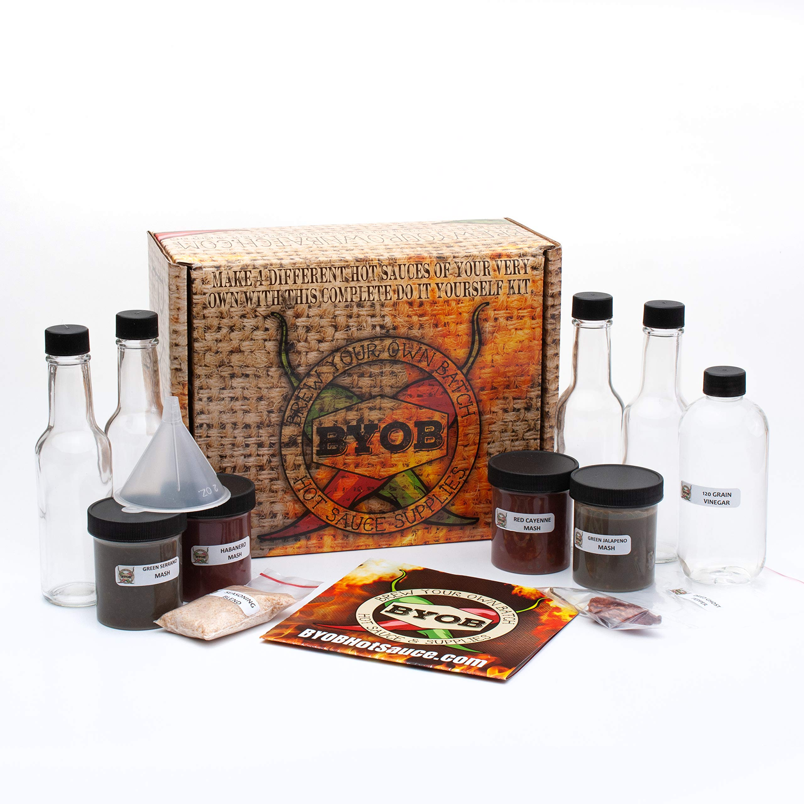 DIY Hot Sauce Making Kit, This Hot Sauce Gift Set Makes 4 Different Bottles of 5oz Gourmet Hot Sauce, Contains Everything You Need to Make Your Own Hot Sauce