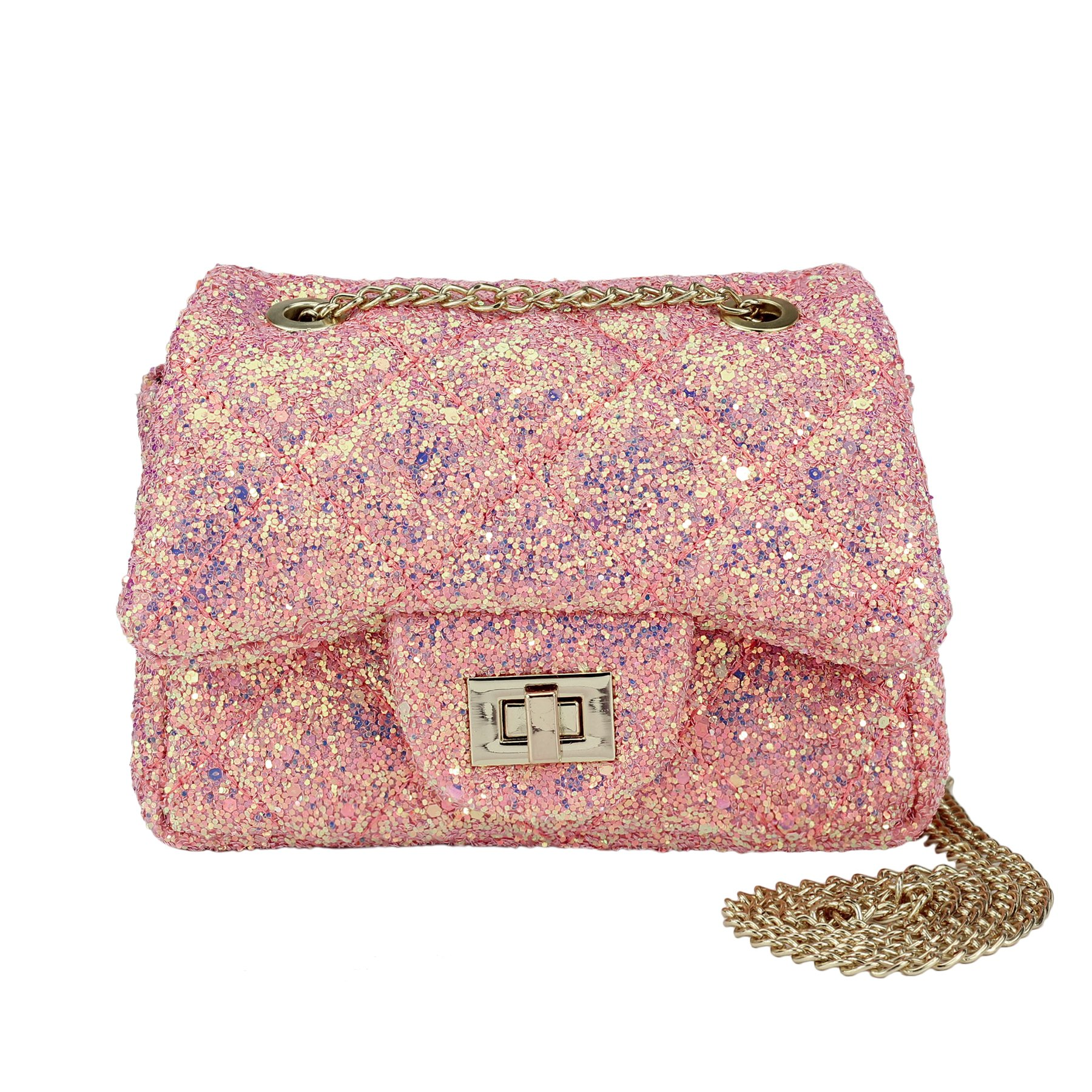 CMK Trendy Kids Glitter Toddler Purse for Girls Sparkly Quilted Little Girl Purses (80001_Chunky Pink)