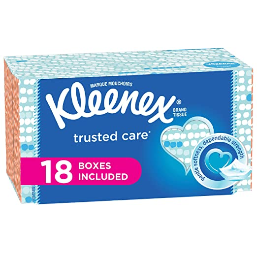 Kleenex Trusted Care Everyday Facial Tissues, Flat Box, 210 Tissues per Flat Box, 18 Packs