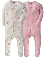 Gerber Girls Zip-Front Footed Sleeper(2-Pack)