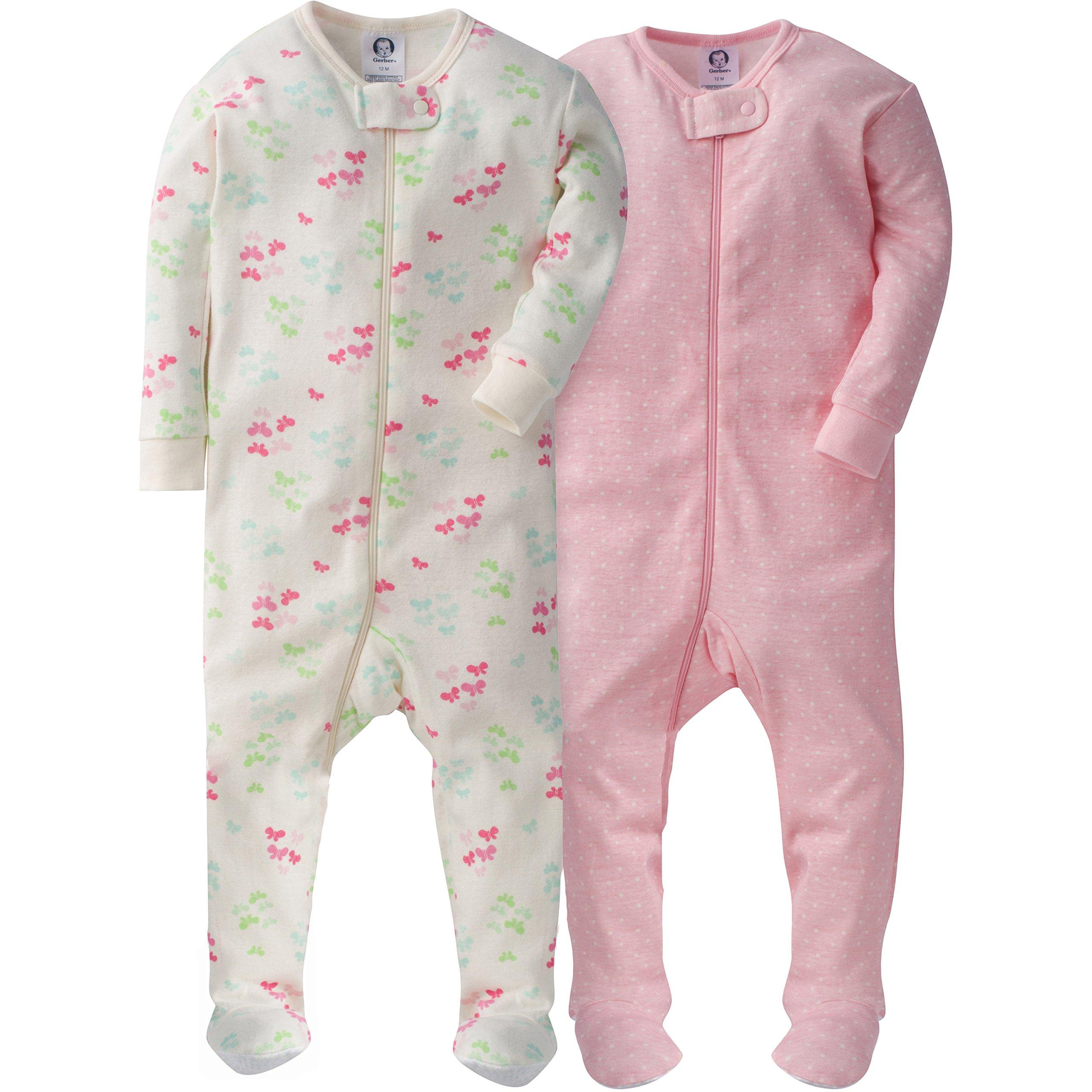Gerber Girls' 2 Pack Footed Sleeper, Dots/Butterflies, 6 Months