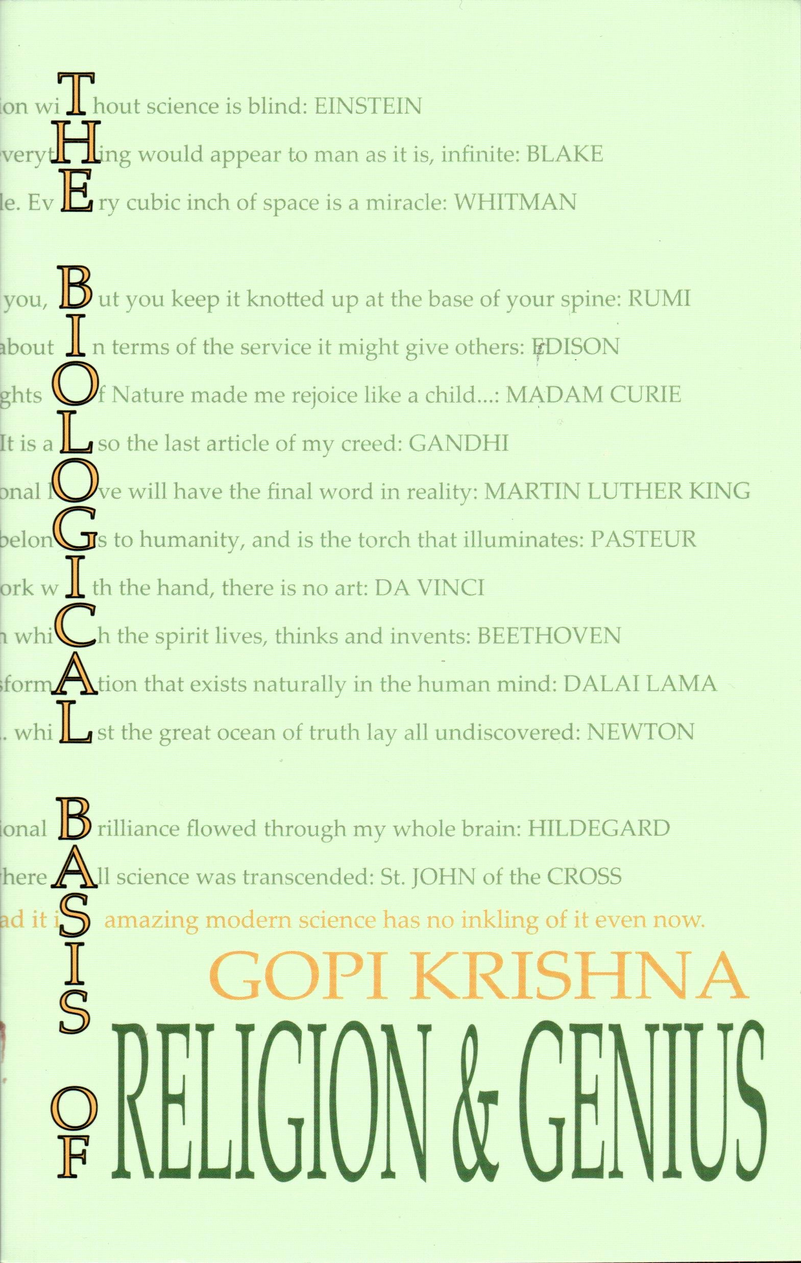 the biological basis of religion and genius gopi krishna  follow the author