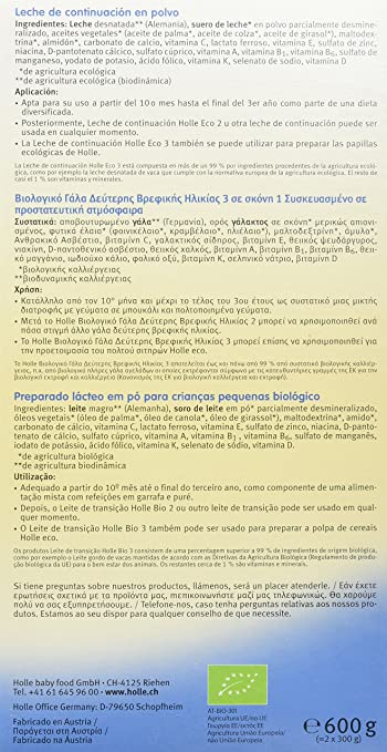 Holle Leche de Continuación Fórmula 3 (+ 10 meses) - 600 gr: Amazon.es: Alimentación y bebidas