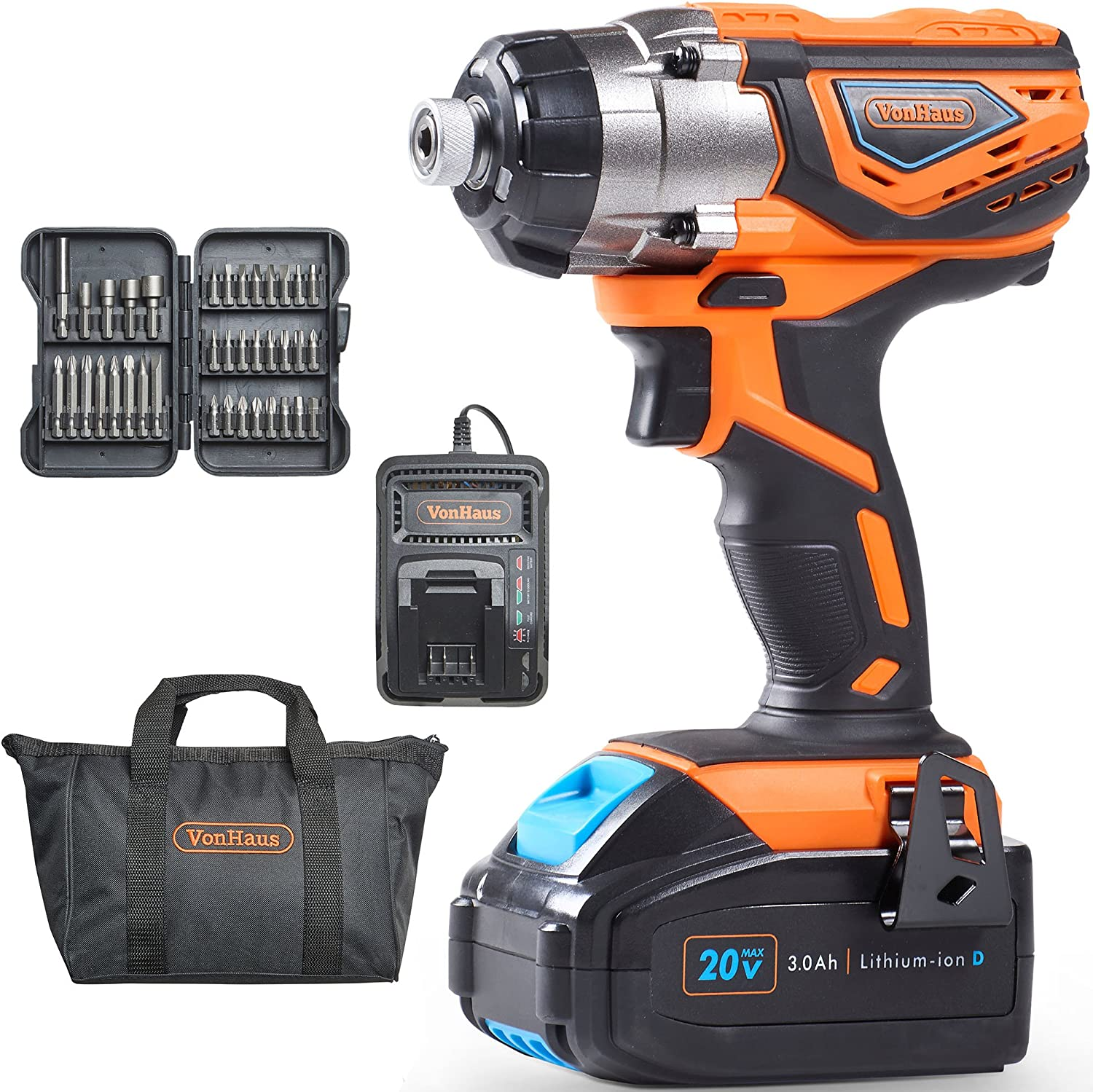 VonHaus 20V Cordless 1 4 Impact Driver Drill Set with 3000 RPM Speed, LED Light and 37pc Driver Bits – 3.0Ah Battery and Charger Kit Included