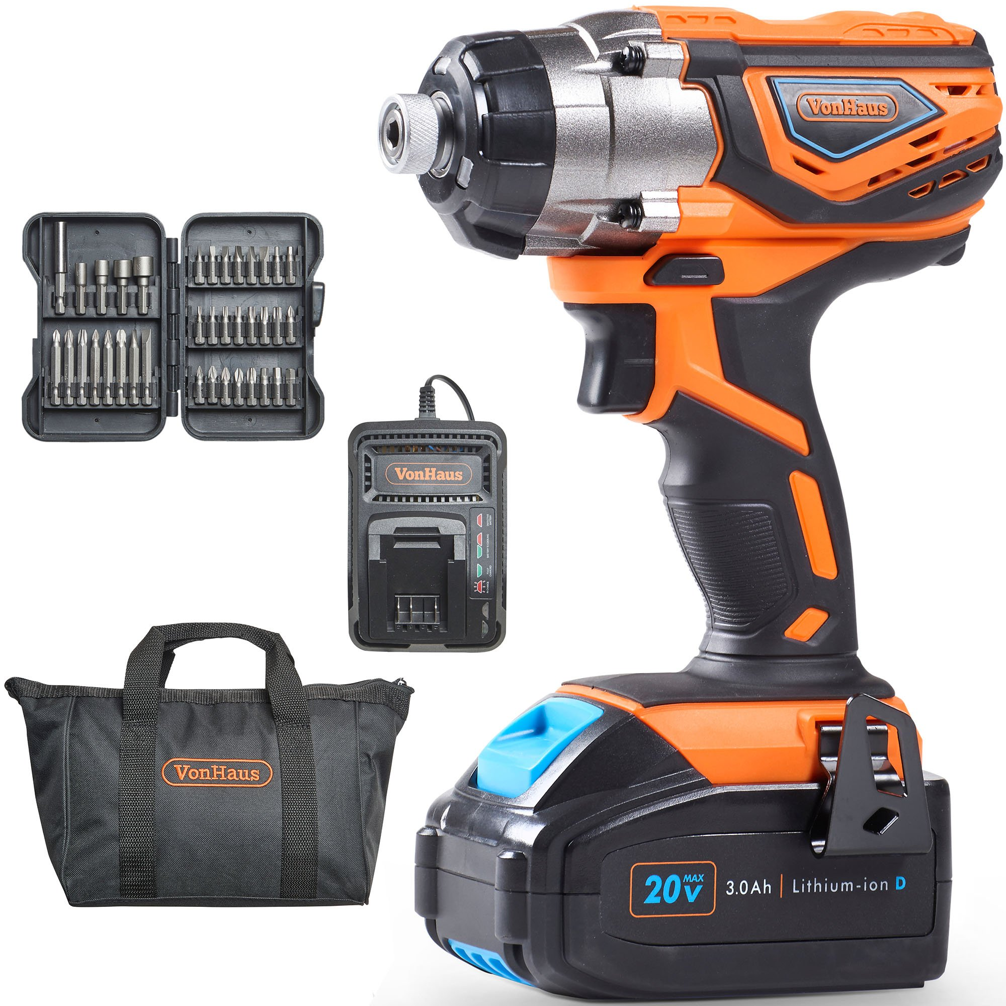 VonHaus 20V MAX Lithium-Ion Cordless 1/4'' Impact Driver with 3000 RPM Variable Speed, LED light and 37pc Driver Bit Set - 3.0Ah Battery and Charger Kit Included
