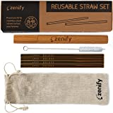 Zenify Reusable Straws Gold with 4X 8mm Metal Straw + Case + Bag + Cleaner - Eco Friendly Stainless Steel Smoothie Drinking Gift Set - Alternative to Single Use Plastic Paper Glass Silicone Bamboo