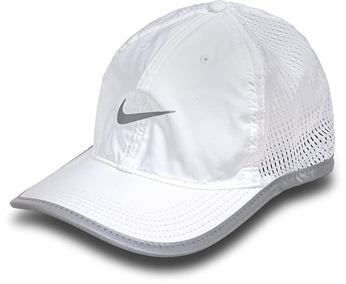 886aa27c Amazon.com: NIKE Mens Run Knit Mesh Adjustable Running Hat White: Clothing