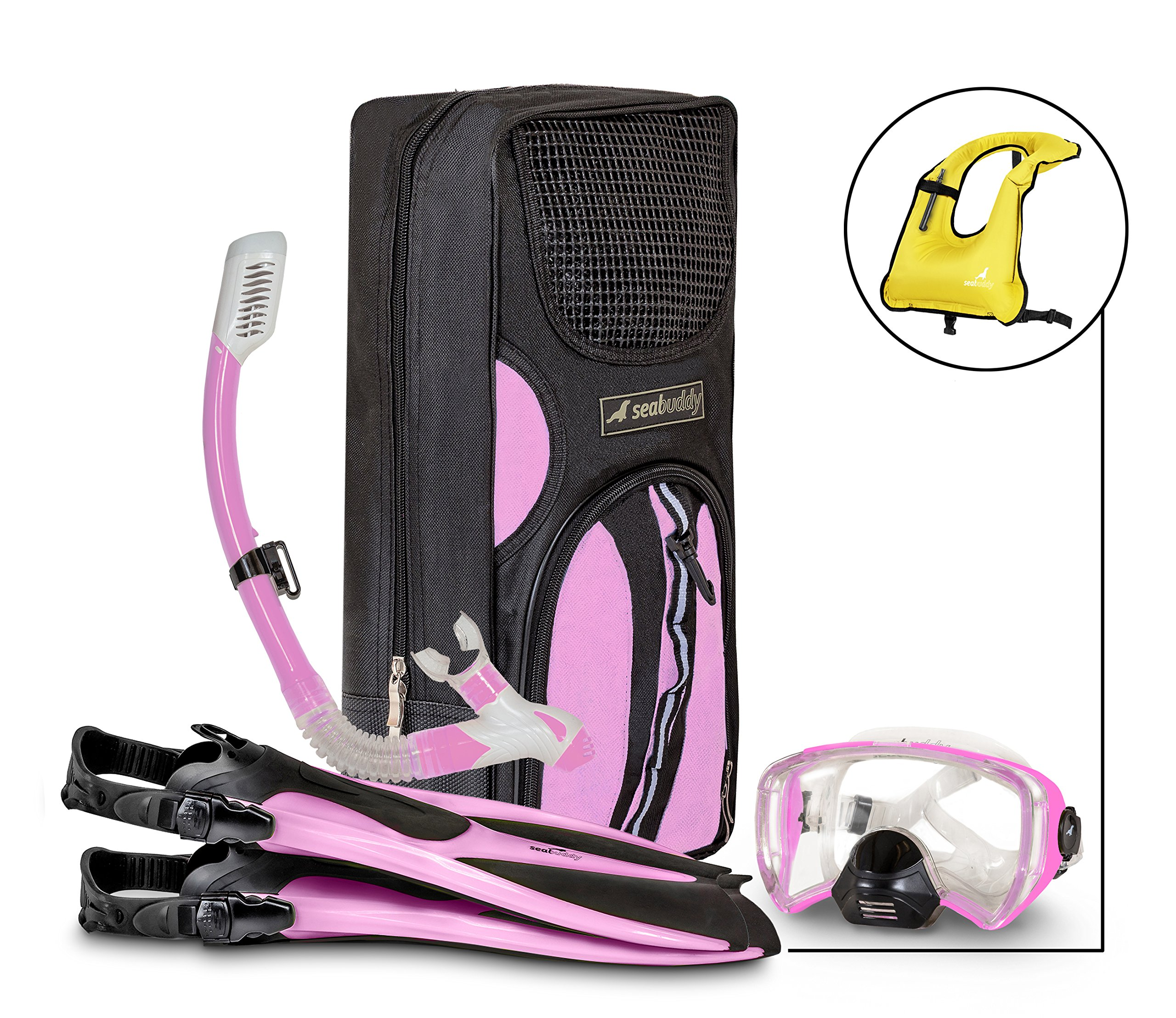 SealBuddy Fiji Panoramic Snorkel Set + Premium Travel Gear Bag ~ Vest Included (Pink/Black, S/M Size 4 to 7.5) by SealBuddy