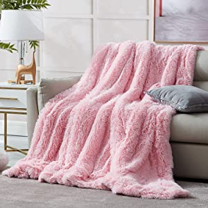 Hansleep Shaggy Faux Fur Blanket, Ultra Soft Plush Fuzzy Throw Blanket with Reversible Warm Sherpa - Sofa Couch Bed Decoration for All Season Use (Pink, Throw 50x65)