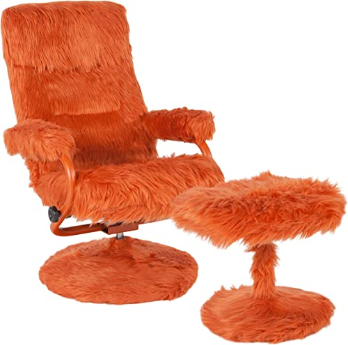Flash Furniture East Side Contemporary Multi-Position Recliner and Ottoman in Orange Fur