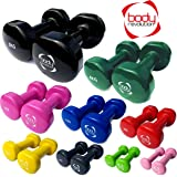 Body Revolution Pair of Vinyl Dumbbells for Home Gym, Crossfit, Pilates, Body Toning and fitness (0.5-5kg) - for Ladies and Men