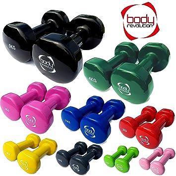 Body Revolution - Par de mancuernas de vinilo para gimnasio en casa, Crossfit, Pilates